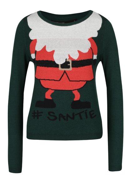 Červeno-zelený svetr s vánočním motivem ONLY Santie