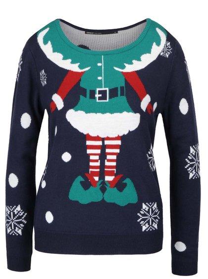 Tmavě modrý svetr s vánočním motivem ONLY Elfie