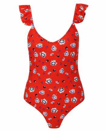 Červené jednodílné květované plavky VERO MODA Annita