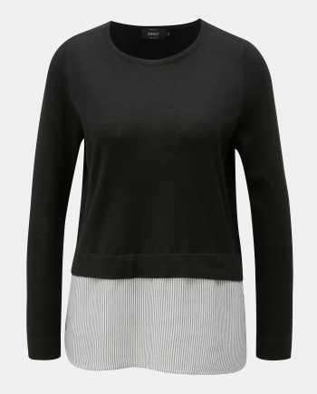 Černý lehký svetr s všitou halenkovou částí ONLY New