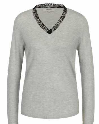 Světle šedý lehký svetr s véčkovým výstřihem ONLY Sysse