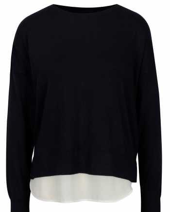 Tmavě modrý lehký svetr s mašlí a košilovou částí ONLY Rosana