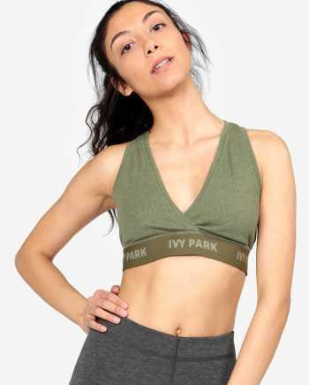 Khaki podprsenka s překládaným výstřihem Ivy Park