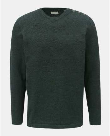 Tmavě zelený žíhaný svetr s knoflíky u krku Shine Original