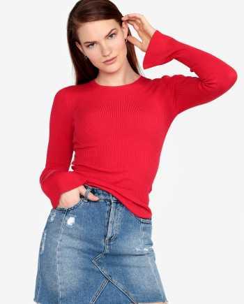 Červený žebrovaný svetr se zvonovými rukávy Miss Selfridge
