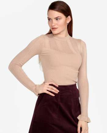 Béžový žebrovaný svetr s volány na rukávech Miss Selfridge