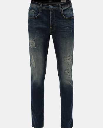 Modré slim fit džíny s potrhaným efektem Blend