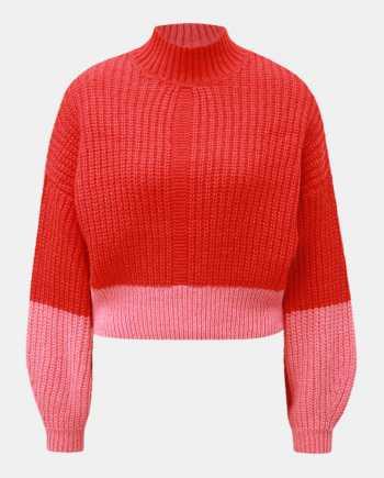 Růžovo-červený krátký svetr se stojáčkem Miss Selfridge