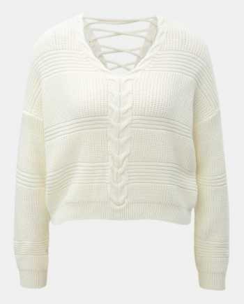 Krémový krátký volný svetr se šněrováním Miss Selfridge