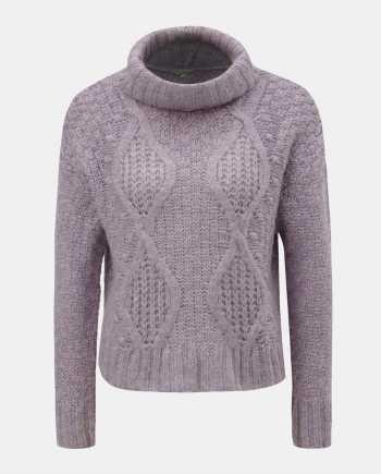 Fialový krátký svetr s rolákem Miss Selfridge