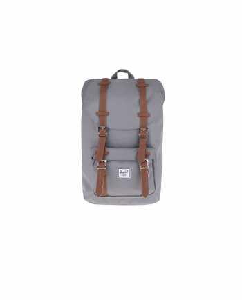 Šedý unisex batoh s hnědými popruhy Herschel Supply Little America M 17 l