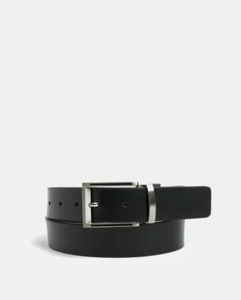 Hnědo-černý oboustranný kožený pásek Dice Maine