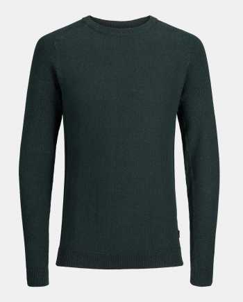 Tmavě zelený žíhaný basic svetr Jack & Jones Maine