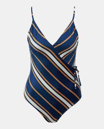 Tmavě modré pruhované jednodílné plavky Roxy
