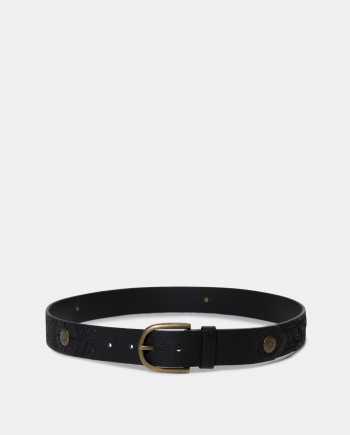 Černý kožený pásek s výšivkou a ozdobnými detaily Desigual Everyday One