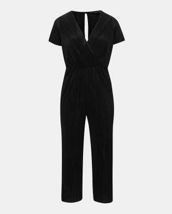 Černý plisovaný overal Dorothy Perkins Curve