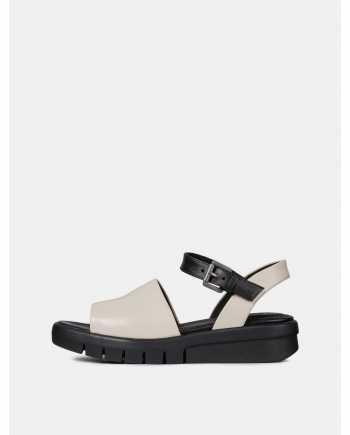 Černo-krémové dámské kožené sandály na platformě Geox Wimbley