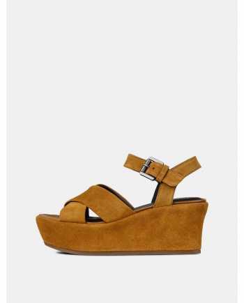 Hnědé dámské semišové sandály na platformě Geox Zerfie