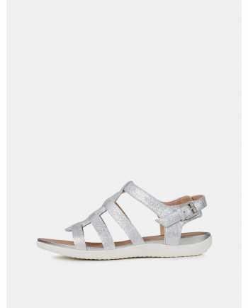 Dámské kožené sandály ve stříbrné barvě Geox Sand Vega