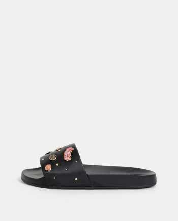 Černé pantofle s aplikací ALDO