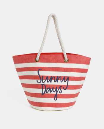 Krémovo-červená dámská pruhovaná plážová taška Tom Joule