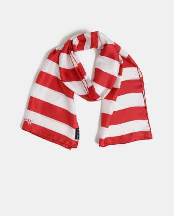 Bílo-červený dámský pruhovaný hedvábný šátek Fraas