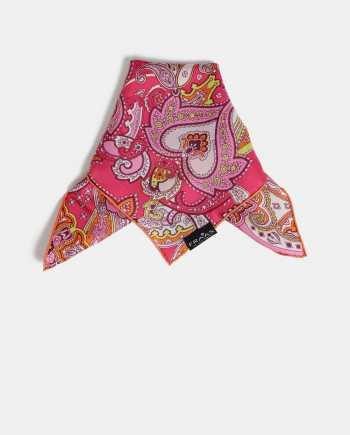 Růžový dámský vzorovaný hedvábný šátek Fraas