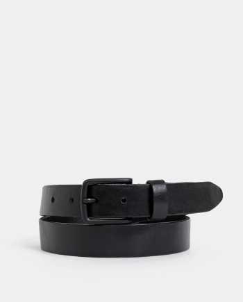 Černý kožený pásek Jack & Jones Lee