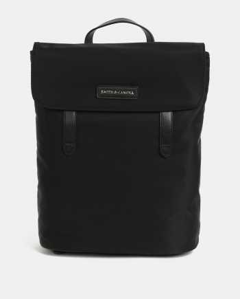 Černý batoh s koženými detaily Smith & Canova Miza