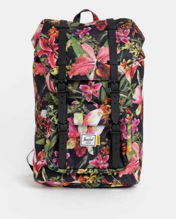Růžovo-černý dámský květovaný batoh Herschel Supply Little America 17 l