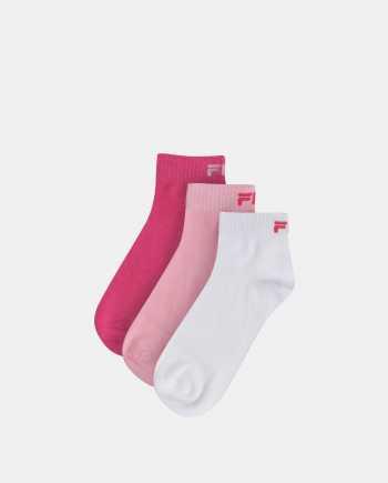 Sada tří párů dámských kotníkových ponožek v růžové a bílé barvě  FILA