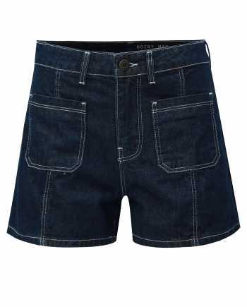 Tmavě modré džínové kraťasy s vysokým pasem Noisy May