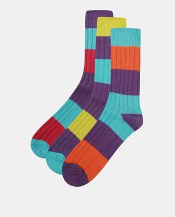 Sada tří pruhovaných ponožek v modro-fialové barvě Oddsocks Rocky