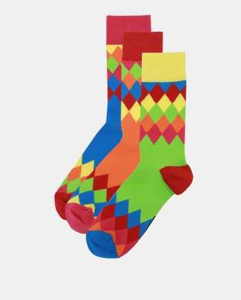 Sada tří vzorovaných ponožek v modré