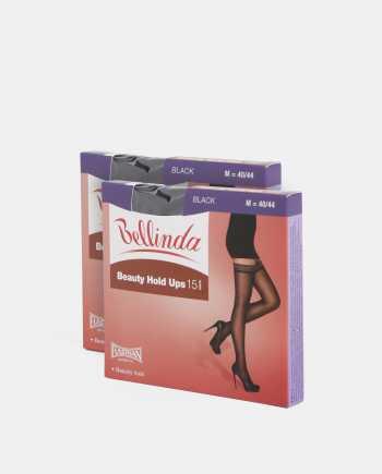 Sada dvou černých samodržicích punčoch Bellinda Beauty Hold Ups 15 DEN