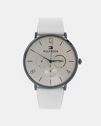 Dámské hodinky s bílým koženým páskem Tommy Hilfiger