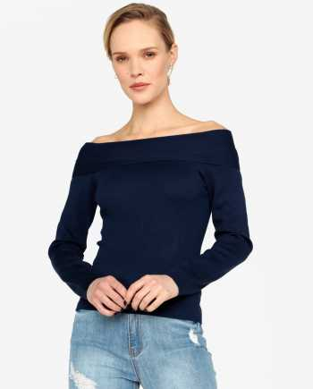 Tmavě modrý lehký svetr s odhalenými rameny MISSGUIDED