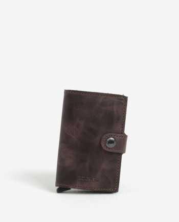 Hnědá kožená peněženka s hliníkovým pouzdrem s RFID Secrid Miniwallet