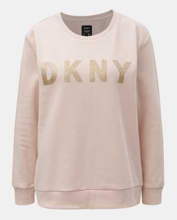 Starorůžová mikina s potiskem ve zlaté barvě DKNY Crew Neck