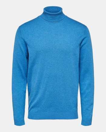 Modrý basic svetr s rolákem a příměsí hedvábí Selected Homme Tower