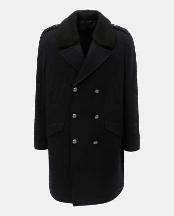 Tmavě modrý vlněný zimní kabát s odnímatelným umělým kožíškem Burton Menswear London