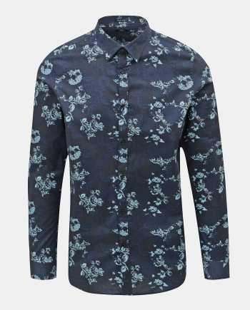 Tmavě modrá květovaná košile Dstrezzed