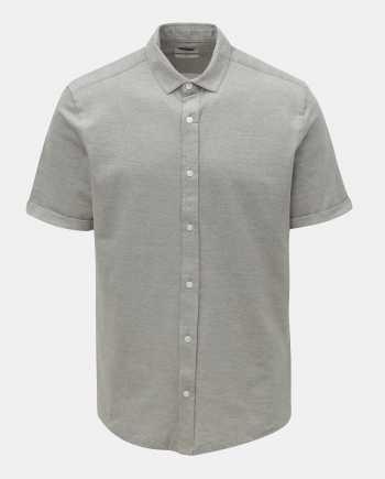 Šedá žíhaná slim fit košile s krátkým rukávem ONLY & SONS Cuton