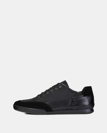 Černé pánské tenisky s koženými detaily Geox Kristof