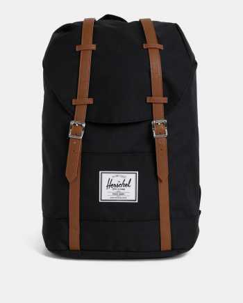 Černý batoh s hnědými popruhy Herschel Supply Retreat 19