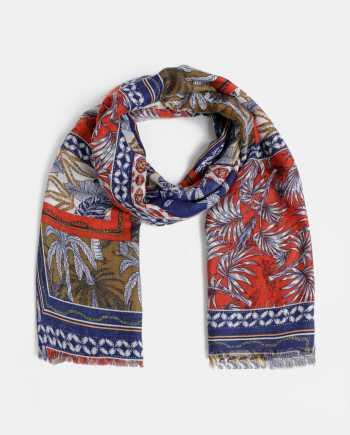 Červeno-modrý dámský vzorovaný šátek Haily´s
