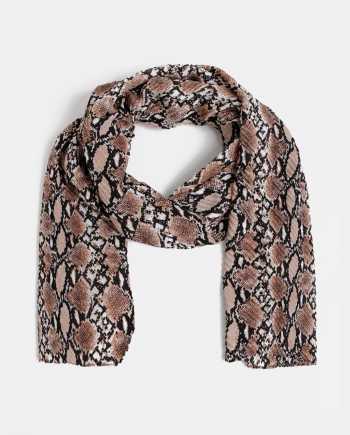 Hnědý dámský plisovaný šátek s hadím vzorem Haily´s