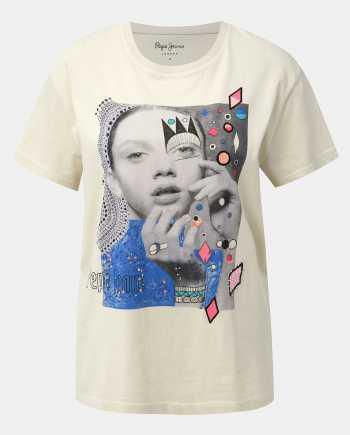 Béžové dámské tričko s potiskem Pepe Jeans Marion