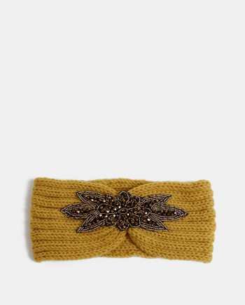 Hořčicová čelenka s ozdobou ve zlaté barvě Haily´s Mimi