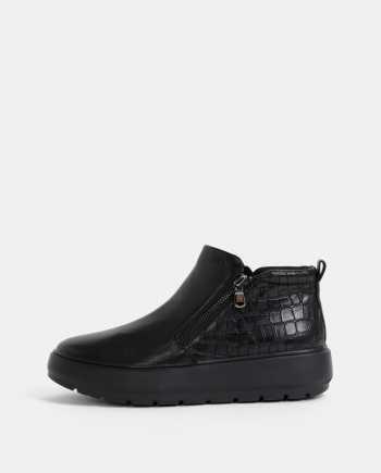 Černé dámské kožené kotníkové boty na platformě s hadím vzorem Geox Kaula